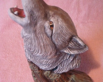 Gray Wolf driftwood Ceramic Statue figurine Hand Painted Acrylic Made in Michigan USA