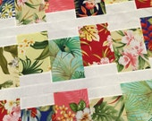 HAWAIIAN Modern Quilt Top - 43 x 58 - Tropical - Floral - Flowers - Unfinished Quilt - Maui - Hawaii