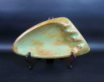 Vintage California Pottery Boomerang Ashtray in Green and Brown / Retro Art Pottery