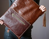 Brown Leather fold over clutch, fold over bag, fold over purse, wool and brown leather clutch with leather fringe tassel