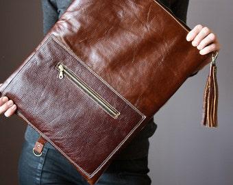 Brown Leather fold over clutch, fold over bag, fold over purse, wool and brown leather clutch with leather fringe tassel