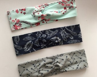 Twist Turban Soft Cotton Jersey Headwrap Headband - Infant Toddler Child Girl Adult - Pink Red Cherry Blossom Navy Feather Grey Arrow