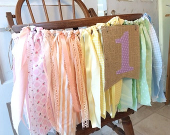 Girls High Chair Banner. Girls First Birthday Party Supplies.  Shabby Chic High Chair Banner with Burlap Flag. Rainbow or CUSTOM colors
