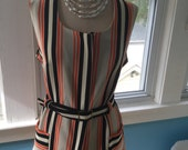 Vintage 1970s Devon Polyester Vest Top Striped with Belt
