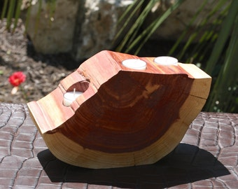 """Rustic Candle, Votive Holder, freeform wood slice, rustic home, wedding, reclaimed Texas Red Cedar, 11"""" w x 6.5"""" tall, 3.75"""" thick"""