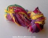 Silk Ribbon Yarn, Recycled Multicolor Sari Ribbon, Sari Ribbon, Silk Yarn, Sari Silk, Ribbon Yarn, Recycled Sari Silk Ribbon, Sari Art Yarn