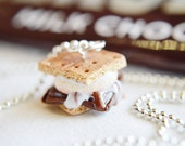 Scented S'more Necklace Miniature food jewelry polymer clay charms food charm cookie charm