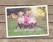 Photo Valentine's Day Card : Gold Arrow Happy Valentine's Day Custom Photo Holiday Card Printable