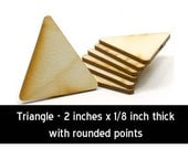 Unfinished Wood Triangle - 2 inches tall by 2 inches wide and 1/8 inch thick wooden shapes (TRIA03)