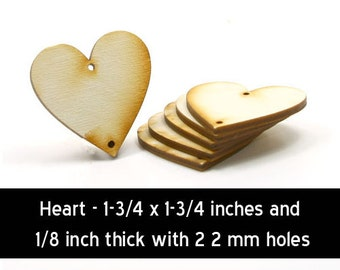 Unfinished Wood Heart - 1-3/4 inches tall by 1-3/4 inches wide and 1/8 inch thick with 2 2mm holes (HART40)
