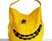 Yellow Canvas Handbag, Large yellow hobo bag, Sling bag with pockets, Free Jewelry with purchase, canvas duck slouch bag