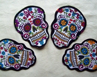 Dia de Los Muertos Sugar Skull Fabric Iron On Appliques