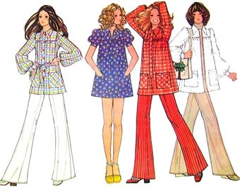 1970s Vintage Smock Top Pattern McCalls 3461 Bust 34 Puff Sleeves Micro Mini Dress Womens Sewing Pattern Size 12 UNCUT