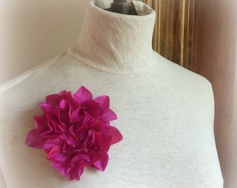 Bright Pink Floral Brooch - Hydrangea Pin - Hat Accessory - Hydrangea Flower Pin - Pink Floral Brooch - Cerise Fascinator- Handmade in USA