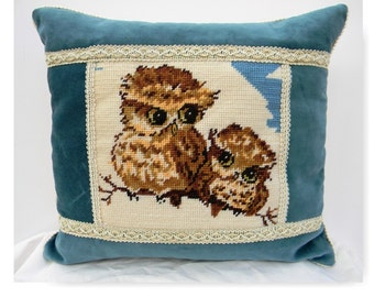Handmade vintage wool Owl and baby owl owlet  needlepoint pillow