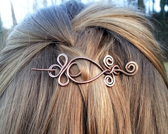 Celtic hair slide Metal hair pin Boho hair barrette Rustic copper hair holder Shawl pin Womens accessories Womens gift Hair clip
