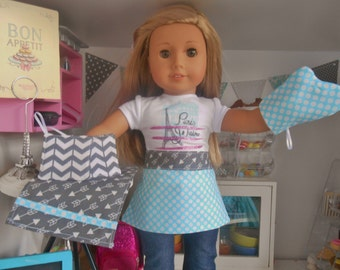 Five Piece Doll Kitchen Set - Turquoise and Gray Chevron, Dots and Arrows