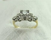 Circa 1970's 0.53 Carat Brilliant Cut Diamond Engagement Ring Set in 14kt White and Yellow Gold