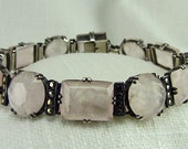Circa 1930 Rose Quartz and Marcasite Bracelet set in Sterling Silver