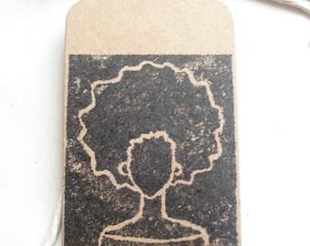 Set of 5 Afro Lino Print Gift Tags