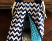 Super Cute Baby Car Seat Covers - CHEVRON in Navy and White with Teal Minky - Baby Boy - Baby Shower Gift