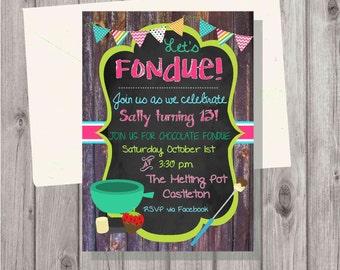 Digital Chalkboard Style Rustic Fondue Birthday Party Invitation Printable Birthday Girl