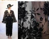 Vintage Velvet Burnout Robe / Dressing Gown Bed Jacket / Black Floral /  90s Lingerie Nightgown Boudoir Sleepwear / Kimono Sleeves / Small