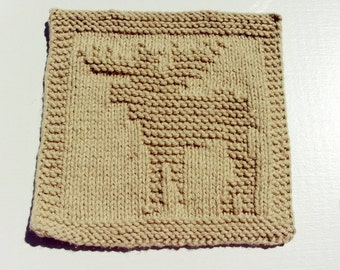 Moose Tan Colored Handknit Dishcloth or Washcloth