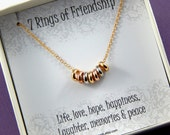 Friendship Necklace, 7 rings of friendship necklace, lucky rings necklace, best friends necklace, adjustable necklace