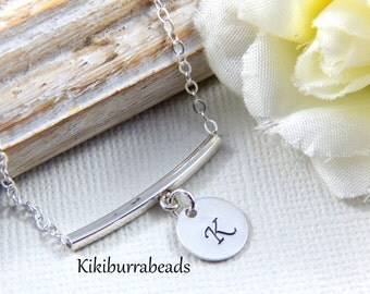Personalized Silver Bar Necklace, Initial Necklace, Sterling silver Necklace, layering necklace