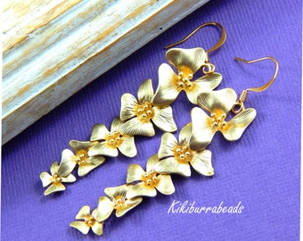 Gold Flower Earrings, Cascading Flower Earrings, Long Flower Earrings, Mothers Day Gift