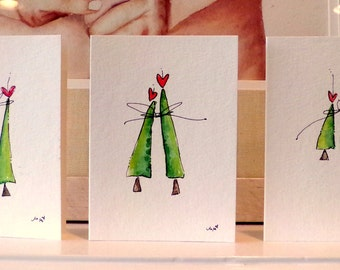 "Three Christmas Trees Together Watercolor Original Cards 3 1/2"" x 4 7/8""  With  Envelope  Blank Inside betrueoriginals"