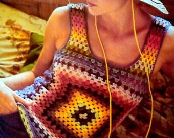 INSTANT DOWNLOAD PDF Vintage Crochet Pattern  Rainbow Granny Square Sleeveless Top  Vest Tank Blouse 1970s