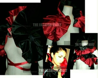 Harley Quinn Dramatic bolero shrug QUEEN OF HEARTS Masquerade Cosplay Moulin rouge Showgirl Vegas sale