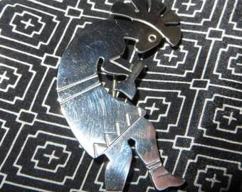 "Sterling Silver Native American Kokopelli Fertility Brooch 2 1/2"" Tall"