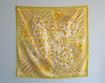 Vintage 1970s Scarf - Sunny Yellow Abstract Print Scarf - 70s Saffron and Gold Scarf