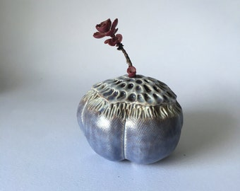 Purple Anemone Bloom Pod Vase for One Flower Ceramic Vessel