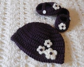 Baby Girl Hat and Mary Jane Style Shoes with Flowers - 0-3 month - plum and cream - ready to ship