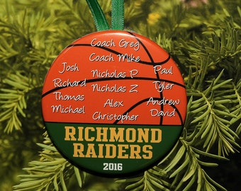 Basketball Team Coach Christmas Ornament (up to 15 names) - Team Colors customized - C077