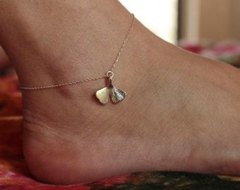 GINKGO - ankle bracelet with ginkgo biloba leaf in sterling silver