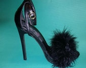 Black Strappy Fur Heels /Choose your own shoe and fur color/ Build your Own/ Open toe fur shoes/ All Sizes