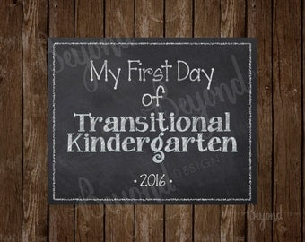 My First AND Last Day of Transitional Kindergarten (TK) Instant Download Printable School Chalkboard Sign - 2 JPEG Files included