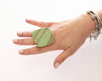 Ceramic and Pottery Statement Ring - jade ring big ring ceramic ring cocktail ring, handmade ring, StudioLeanne  - 1.8 inch