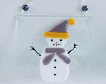 Snowman fused glass art.
