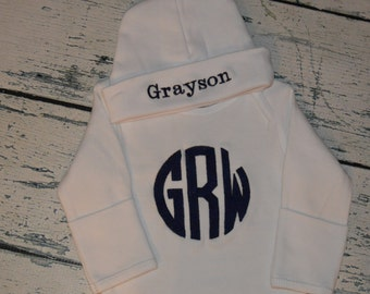 Custom Personalized Infant Gown and Cap set Monogrammed Comming Home Layette