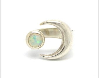 Opal Ring // Crescent Moon // Adjustable Silver Ring