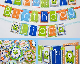 Monster Birthday Party Decorations Package Fully Assembled | Monsters Theme | Monster Party Banner | Our Little Monster | First Birthday |