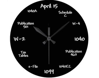 Tax Accountant Chalkboard Clock - High Quality, Acrylic, 10.75 inch diameter Clock - Gift for Accounting Student, Teacher, Employee