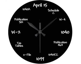 Tax Accountant Chalkboard Clock - High Quality, Acrylic, 10.75 inch diameter Clock - Gift for Accounting Student, Teacher, Employee