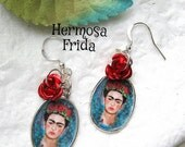 FRIDA KAHLO earrings day of the dead mexicana altered art red roses collectible OOAK popular items